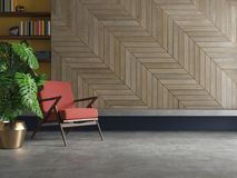 Moderner Innenraum des leeren Wohnzimmers mit Lehnsessel, Anlage, konkreter Boden, Holz Vektor Abbildung