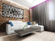Moderner Innenraum des Wohnzimmers Stockfotografie