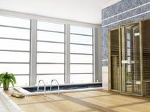 Moderner Innenraum einer Sauna Lizenzfreies Stockbild