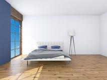 Moderner Innenraum einer Wiedergabe des Schlafzimmers 3d stockfotos