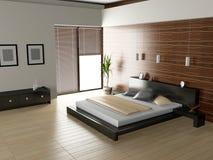 Moderner Innenraum eines Schlafzimmerraumes Lizenzfreies Stockfoto