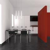 Moderner Innenraum mit Küche und Esszimmer Stockfotos