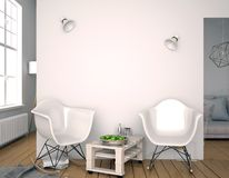 Moderner Innenraum mit Plastikstuhl Wandspott oben illustratio 3D Stockfotografie
