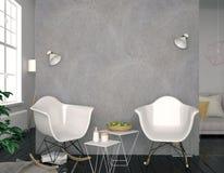 Moderner Innenraum mit Plastikstuhl Wandspott oben illustratio 3D Stockfotos