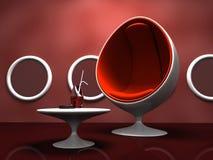 Moderner Innenraum mit rotem Stuhl und Tabelle