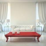 Moderner Innenraum mit roter Tabelle Stockbild