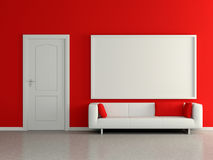 Moderner Innenraum mit Sofa, rote Wand, malend. 3D. Stockfotografie