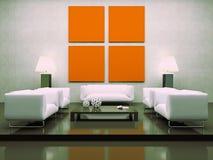 Moderner Innenraum mit weißen Sofas Stockfotografie