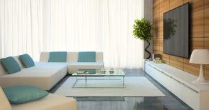 Moderner Innenraum mit weißen Sofas und Fernsehen Stockbild