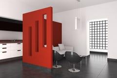 Moderner Innenraum mit Wohnzimmer und Küche Stockfotografie