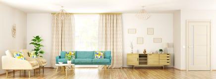 Moderner Innenraum von Wiedergabe des Wohnzimmerpanoramas 3d Stockbilder