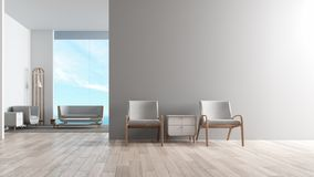 Moderner Innenwohnzimmerholzfußboden mit Sofasatz Stuhl vor Wiedergabe des Wohnzimmerseeansichtsommers 3d vektor abbildung