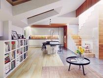 Moderner Kücheinnenraum Stockfotografie