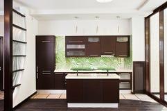 Moderner Kücheinnenraum mit dunklem hölzernem Fußboden lizenzfreie stockfotografie