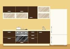 Moderner Kücheninnenraum als Möbelsatz und -kühlschrank Flache Artvektorillustration Lizenzfreies Stockbild