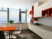Moderner Kücheninnenraum mit den orange und weißen Möbeln Stockfotografie