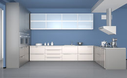 Moderner Kücheninnenraum mit hellblauer Tapete Lizenzfreies Stockfoto