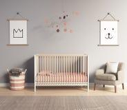 Moderner Kindertagesstättenraum mit roten und grauen Lachsakzenten lizenzfreie stockfotos