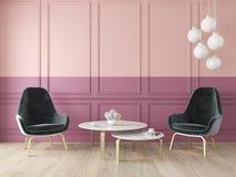 Moderner klassischer doppelter Farbinnenraum mit Lehnsesseln, Lampe, Tabelle, Wänden und Bretterboden lizenzfreie abbildung