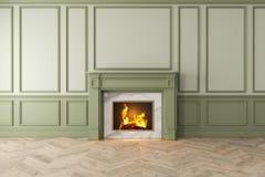 Moderner klassischer grüner Innenraum mit Kamin, Wände, Bretterboden stock abbildung
