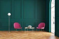 Moderner klassischer grüner Innenraum mit Lehnsesseln, Couchtisch und Stehlampe Lizenzfreie Abbildung