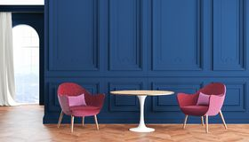 Moderner klassischer Innenraum des leeren Raumes mit Blau, Indigowänden, Rot, Burgunder-Lehnsesseln, Tabelle, Vorhang und Fenster Vektor Abbildung