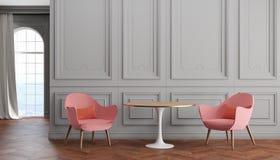 Moderner klassischer Innenraum des leeren Raumes mit grauen Wänden, rosa Lehnsesseln, Tabelle, Vorhang und Fenster Lizenzfreie Abbildung