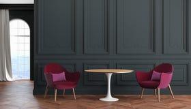Moderner klassischer Innenraum des leeren Raumes mit schwarzen Wänden, Rot, Burgunder-Lehnsessel, Tabelle, Vorhang vektor abbildung