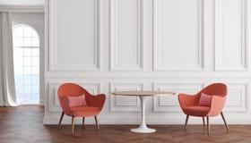 Moderner klassischer Innenraum des leeren Raumes mit weißen Wänden, roten Lehnsesseln, Tabelle, Vorhang und Fenster vektor abbildung