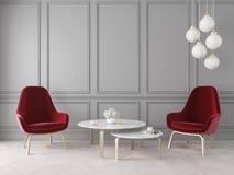 Moderner klassischer Innenraum mit Lehnsesseln, Lampe, Tabelle, Wänden und Bretterboden stock abbildung