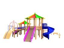 Moderner komplexer hölzerner Spielplatz für Kinder mit Dias und Ca vektor abbildung