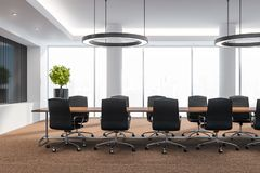 Moderner Konferenzsaal mit Möbeln, große Fenster und Stadtansicht 3D übertragen Bereiten Sie für das Treffen vor vektor abbildung
