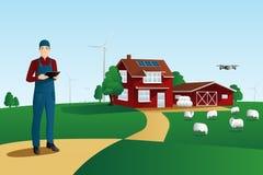 Moderner Landwirt auf einem intelligenten Bauernhof stock abbildung