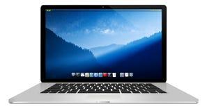 Moderner Laptop auf weißem Hintergrund Stockbild