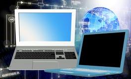 moderner Laptop getrennt auf weißem Hintergrund Lizenzfreies Stockfoto