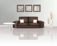 Moderner lebender Platz mit Brown-Sofa Stockfotografie