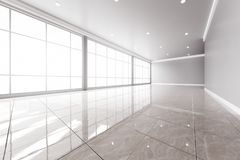 Moderner leerer Büroinnenraum mit großen Fenstern Lizenzfreie Stockfotografie