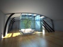 Moderner leerer Innenraum mit Anlage und Sofa Stock Abbildung
