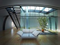 Moderner leerer Innenraum mit Anlage und Sofa Vektor Abbildung