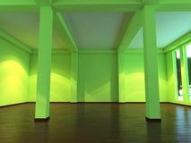 Moderner leerer Innenraum mit orange Sofa Vektor Abbildung
