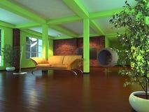 Moderner leerer Innenraum mit orange Sofa Stock Abbildung