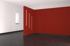 Moderner leerer Innenraum mit roter Wand Stockfotografie