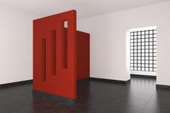 Moderner leerer Innenraum mit roter Wand und Fenstern Lizenzfreies Stockbild