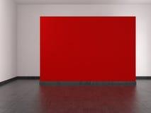 Moderner leerer Raum mit roter Wand und mit Ziegeln gedecktem Fußboden Stockbild