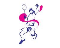 Moderner leidenschaftlicher Badminton-Spieler im Aktions-Logo Lizenzfreies Stockfoto