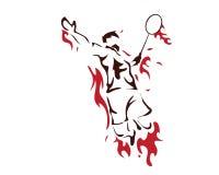 Moderner leidenschaftlicher Badminton-Spieler im Aktions-Logo - leidenschaftliches gewinnendes Moment-Zertrümmern Stockfotos