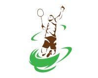 Moderner leidenschaftlicher Fliegen-Tornado-Zertrümmern-Badminton-Spieler im Aktions-Logo Stockfoto
