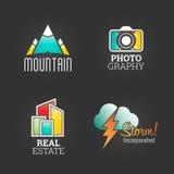 Moderner Logo Set Globaler Markt-Unternehmens-Medien-Symbol-Netz-Schablone Logo Vector Elements Pack Marken-Ikonen-Design Lizenzfreie Stockbilder