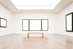 Moderner lokalisierter weißer Vektor Art Museum Frame Wall Clippings Weg Stockfoto