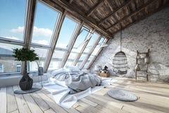 Moderner, Luxus-, industrieller Dachbodenschlafzimmerinnenraum lizenzfreies stockbild